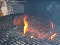 Cooking the London Broil on the Grill Picture