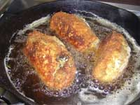 Stuffed Chicken Florentine, Frying the Chicken Picture