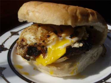 Steakhouse Burger with Onions, and a Fried Egg Picture