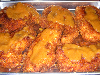 Jamaican Jerked Chicken Parmesan, Placing the Sauce on the Chicken, Picture