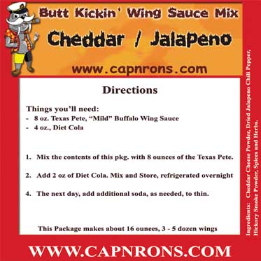 Picture of a Jalapeno / Cheddar Wing Sauce Label.