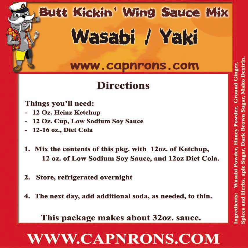 Picture of a Wasabi / Yaki Wing Sauce Label.
