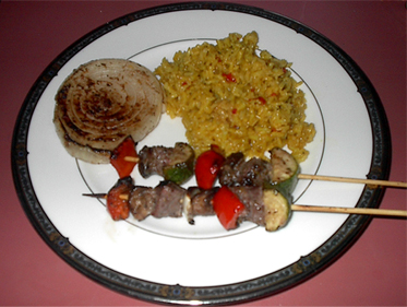 Beef Kebabs, Plated for Dinner Picture