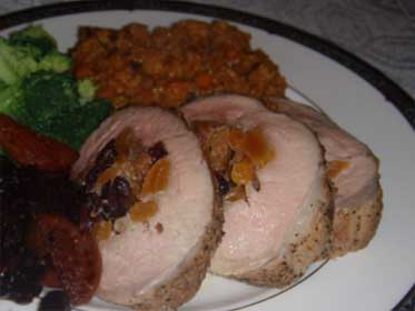 Plated picture of a Fruit Stuffed Pork Loin Roast Picture