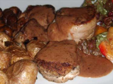 Pork Tenderloin Mignonettes, Plated with a Pan Sauce Picture