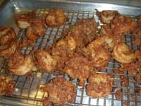 Cajun Style, Buffalo Shrimp Draining the Fried Shrimp Picture