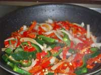 Fiery, Curried Shrimp, Cooking the Vegetables, Picture