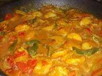 Fiery, Curried Shrimp, Making a Thin Sauce, Picture