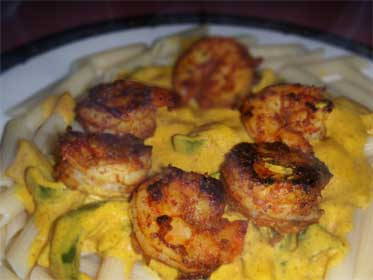 Jamaican Curried Shrimp, on Penne Pasta, Picture