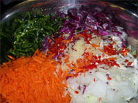 All of the Ingredients in a Bowl for Slaw (Coleslaw) Recipe Picture