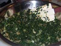 Turkey Meatballs Florentine Mixing the Onions and Spinach Picture